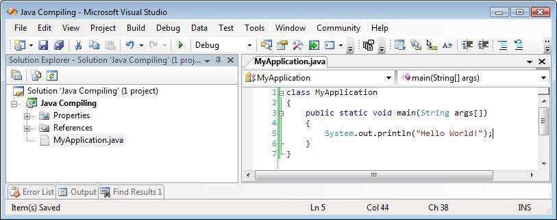 Visual studio java