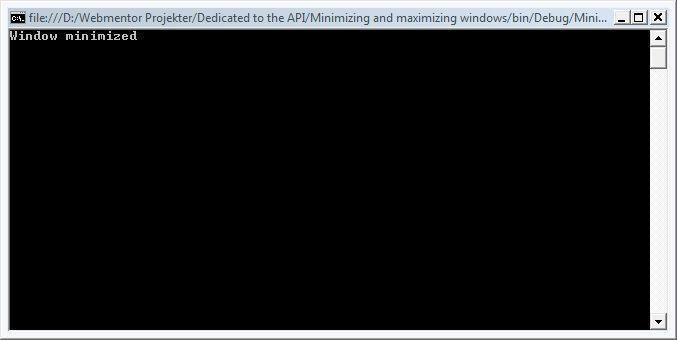 Minimizing and Maximizing Windows Using PInvoke   Mark S
