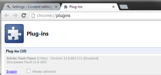 Native Chrome Flash Player Disabled by Itself All of a