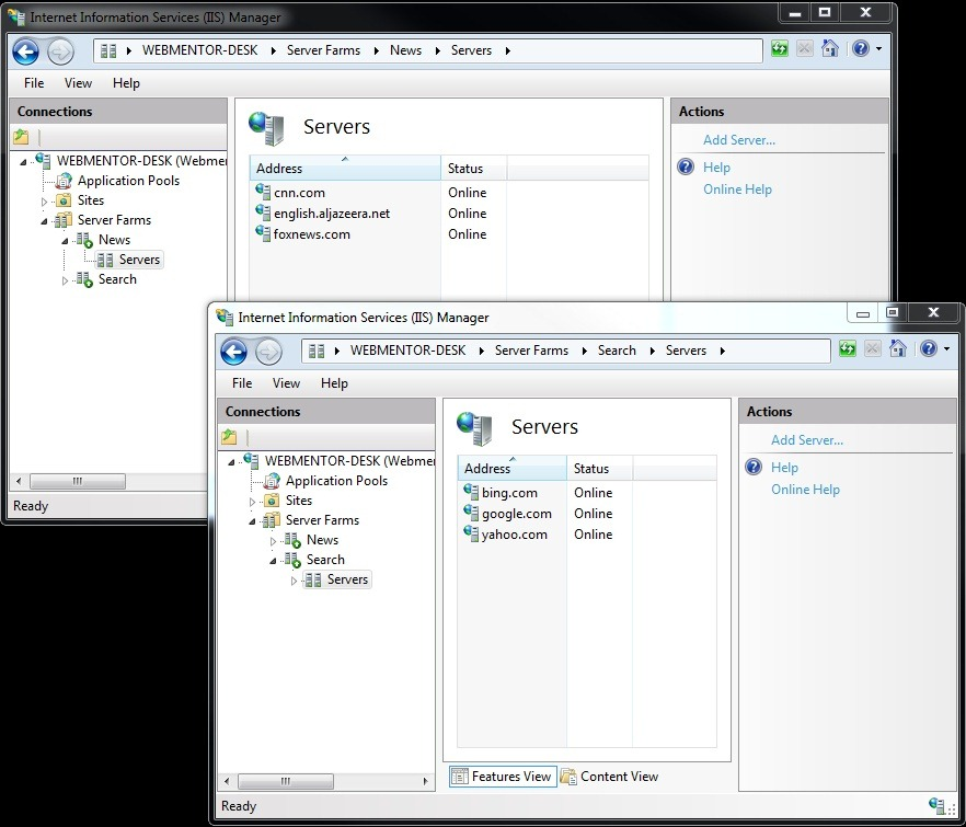 Setting up Multiple IIS Application Request Routing Farms on the